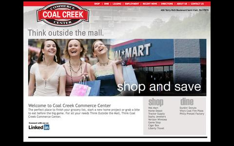 Screenshot of Home Page coalcreekcc.com - Coal Creek Commerce Center Shop and Dine 17970 Pottsville PA, Bloomsburg, PA Haxelton PA Berwick, PA Schuykill County - captured Oct. 3, 2014