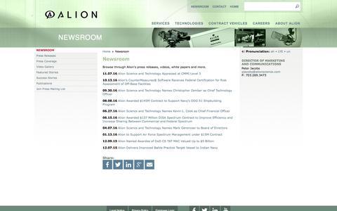 Screenshot of Press Page alionscience.com - ALION - captured Nov. 20, 2016