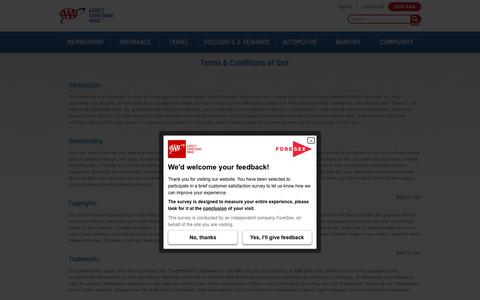 Screenshot of Support Page Terms Page aaa.com - Terms & Conditions of Use - captured Feb. 27, 2019