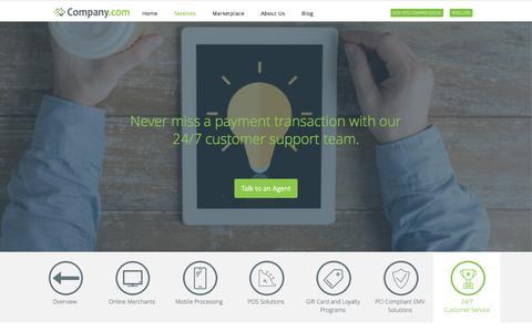 Screenshot of Support Page company.com - 24/7 Credit Card Processing experts | Company.com - captured April 17, 2016