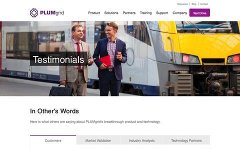 Screenshot of Testimonials Page plumgrid.com - Testimonials - PLUMgrid   The Worldwide Leader of Secure Cloud Networks - captured Aug. 25, 2016