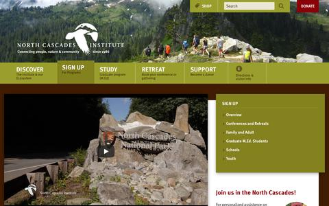 Screenshot of Signup Page ncascades.org - Sign Up — North Cascades Institute - captured Oct. 22, 2017