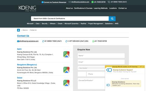 Screenshot of Contact Page koenig-solutions.com captured Nov. 2, 2019