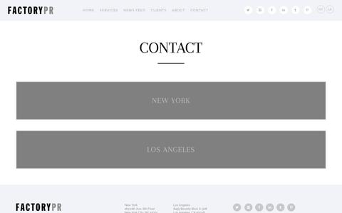 Screenshot of Contact Page factorypr.com - Contact Â« Factory PR - captured Aug. 2, 2016