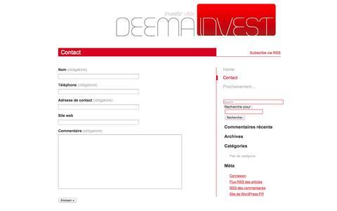 Screenshot of Contact Page deemainvest.com - Contact « - captured Sept. 30, 2014
