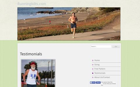 Screenshot of Testimonials Page runningkilts.com - Testimonials - Runningkilts.com - captured June 15, 2016