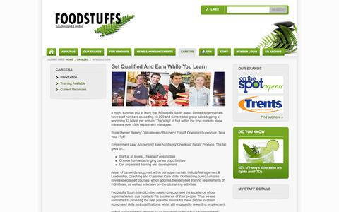 Screenshot of Jobs Page foodstuffs-si.co.nz - Careers At Foodstuffs South Island Introduction - captured Sept. 18, 2014