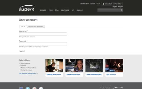 Screenshot of Login Page audient.com - User account | Audient - captured Sept. 23, 2014