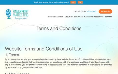 Screenshot of Terms Page fingerprintmarketing.com - Privacy policy | Information gathered | Fingerprint Marketing - captured Aug. 13, 2018