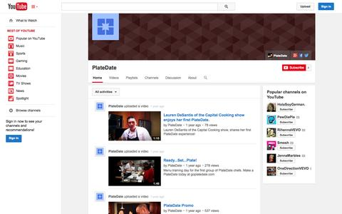 Screenshot of YouTube Page youtube.com - PlateDate  - YouTube - captured Oct. 23, 2014