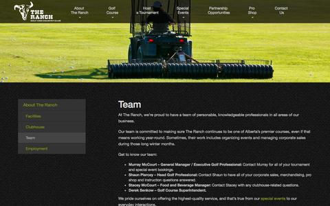 Screenshot of Team Page theranchgolf.com - Team | The Ranch Golf and Country Club - captured Oct. 9, 2014
