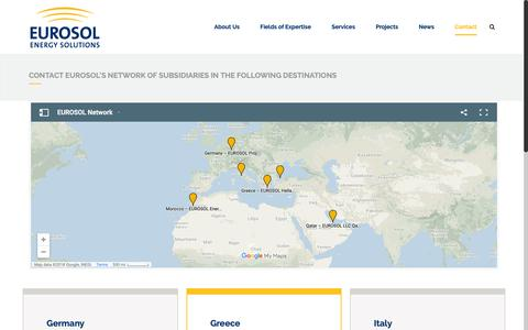 Screenshot of Contact Page eurosol.eu - EUROSOL Contact Eurosol's network of subsidiaries in the following destinations - EUROSOL - captured Sept. 29, 2018