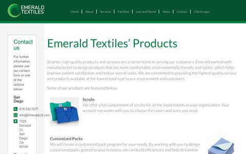 Screenshot of Products Page emeraldus.com - Products   Emerald Textiles - captured Sept. 28, 2018