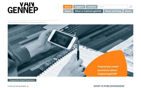 Screenshot of FAQ Page vangennep.nl - PublishingNOW! FAQ - Van Gennep - captured Nov. 5, 2017