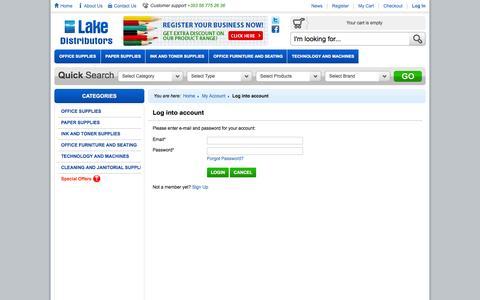 Screenshot of Login Page lakedistributors.ie - Log into account | Office Supplies Kilkenny Ireland - Lake Distributors - captured Sept. 27, 2014