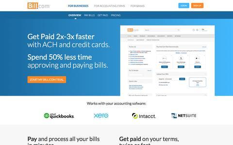 Screenshot of Home Page bill.com - Bill.com - captured March 18, 2017