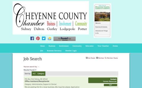 Screenshot of Jobs Page cheyennecountychamber.com - Job Search - PublicLayout - Cheyenne County Chamber of Commerce, NE - captured June 21, 2016