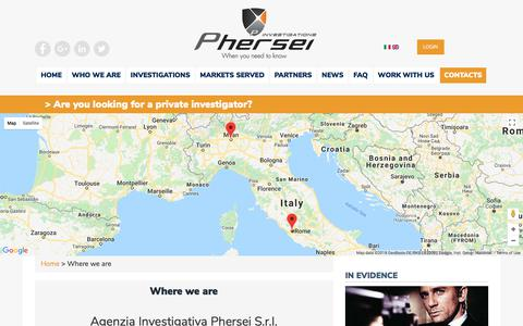 Screenshot of Contact Page phersei.com - Contacts   Phersei S.r.l Investigation Agency - captured July 17, 2018