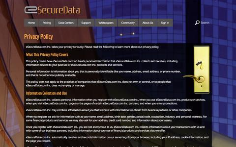Screenshot of Privacy Page esecuredata.com - Privacy Policy - captured Sept. 19, 2014