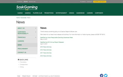 Screenshot of Press Page casinoregina.com - News Â« Casino Regina - captured Oct. 3, 2014