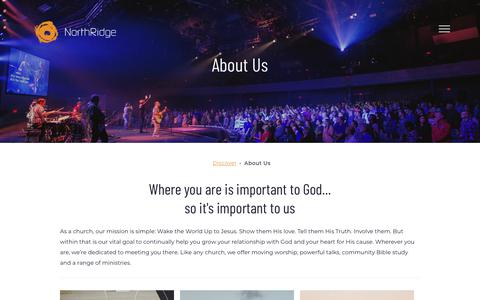 Screenshot of About Page northridgechurch.com - About Us - captured Oct. 13, 2019