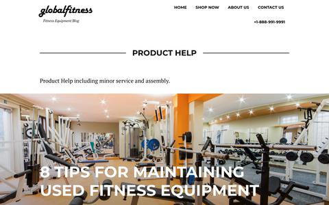 Screenshot of Support Page globalfitness.com - Product Help Archives - globalfitness - captured Sept. 28, 2018