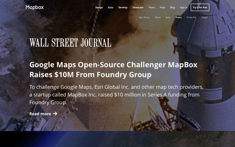Screenshot of Press Page mapbox.com - Press | Mapbox - captured Sept. 12, 2014