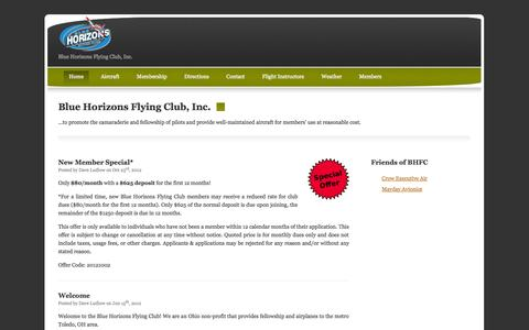 Screenshot of Home Page blue-horizons.org - Blue Horizons Flying Club, Inc. - captured Oct. 5, 2014