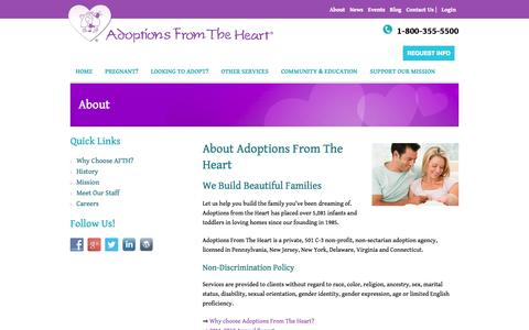 Screenshot of About Page afth.org - Adoption Agency Wynnewood PA | Pregnant Lancaster | About - captured Oct. 4, 2014