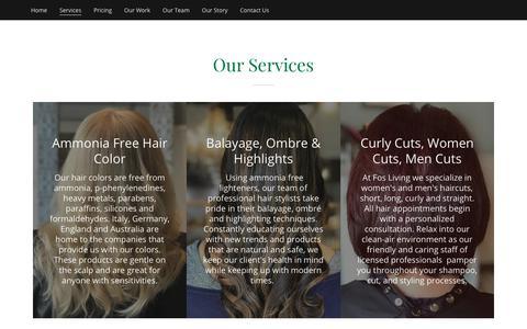 Screenshot of Services Page fosliving.com - Services | FOS Living eco salon spa store - captured Oct. 10, 2018