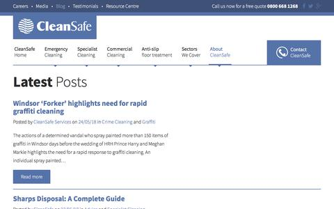 Screenshot of Blog cleansafeservices.co.uk - CleanSafe Services UK Blog | Emergency Cleaning - captured May 25, 2018