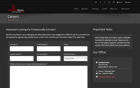 Screenshot of Jobs Page secureideas.com - Secure Ideas - Contact Us - captured Sept. 21, 2018