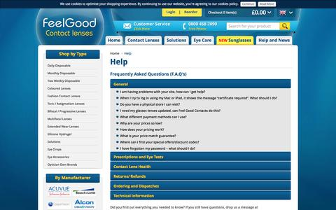Screenshot of FAQ Page feelgoodcontacts.com - Frequently Asked Questions | Help | FeelGoodContacts.com - captured Oct. 8, 2016