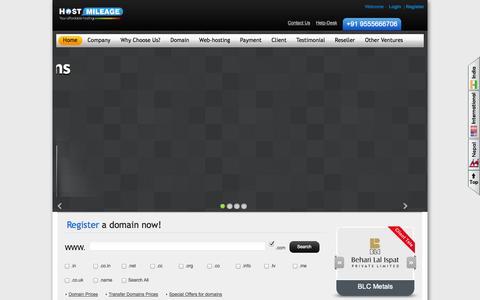Screenshot of Home Page hostmileage.com - Domain Registration - Domain Name Registration - Web Hosting Services | HostMileage - captured Sept. 30, 2014
