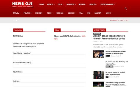 Screenshot of Contact Page news.club - Contact   NEWS CLUB - captured Oct. 11, 2017