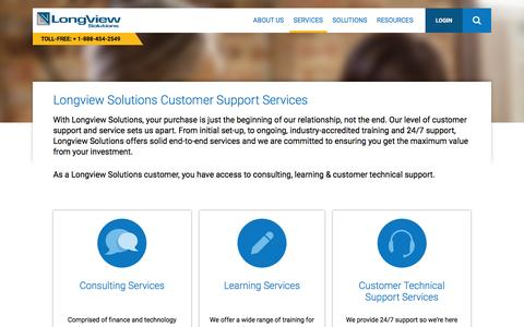 Screenshot of Services Page longview.com - Longview Solutions Customer Support Services - Longview Solutions - captured Jan. 20, 2016