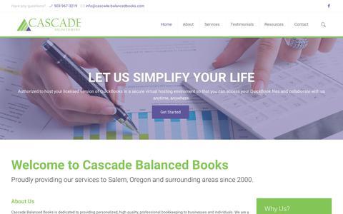 Screenshot of Home Page cascade-balancedbooks.com - Home - Cascade-Balanced Books - captured July 16, 2018