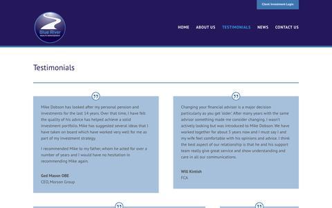 Screenshot of Testimonials Page blueriverwealth.com - Testimonials - Blue River Wealth Management - captured Oct. 6, 2018