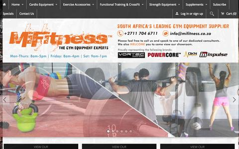 Screenshot of Home Page mifitness.co.za - Gym Equipment Suppliers, with the widest range in South Africa - captured Sept. 25, 2014