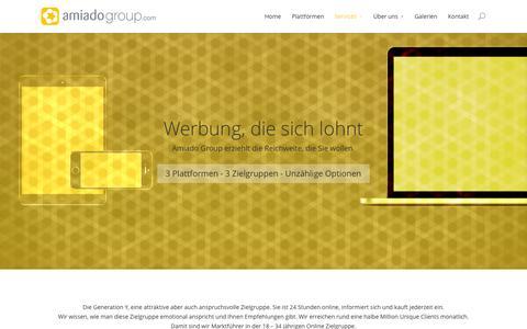 Screenshot of Services Page amiadogroup.com - Werbung | amiadogroup.com - captured Oct. 4, 2014