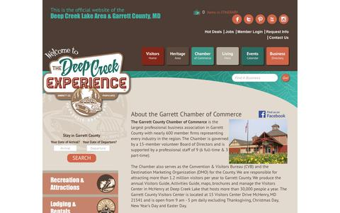 Screenshot of About Page visitdeepcreek.com - About Us - Garrett County Chamber of Commerce, MD - captured Oct. 22, 2017