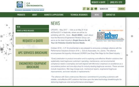 Screenshot of Press Page cp-environmental.com - Partnership in Steel Industry, Gore & Baghouse Service Companies - captured Oct. 7, 2017