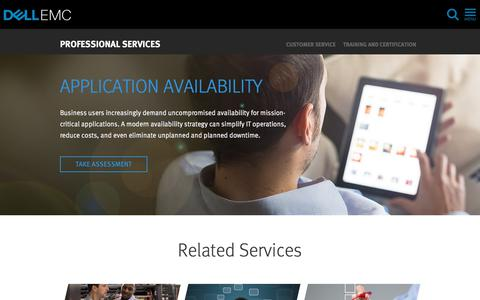 Screenshot of Services Page dellemc.com - Business Application Availability | Dell EMC US - captured Feb. 9, 2018