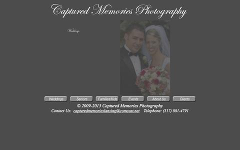Screenshot of Home Page capturedmemorieslansing.com - Captured Memories Photography Home - captured Sept. 13, 2015