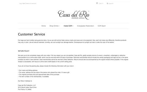 Screenshot of Support Page casadelriocollection.com - Customer Service – Casa del Rio Collection - captured July 17, 2017