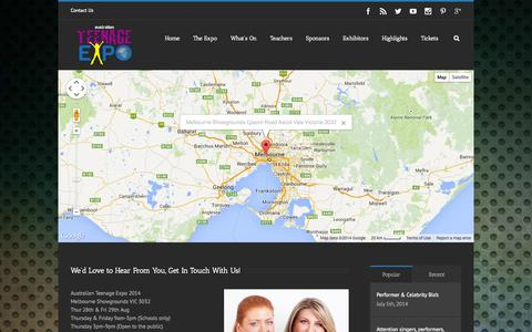 Screenshot of Contact Page Maps & Directions Page teenageexpo.com.au - Teenage Expo   –  Contact Us - captured Oct. 23, 2014