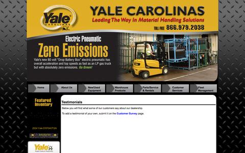 Screenshot of Testimonials Page yalecarolinas.com - Georgia, North Carolina, Tennessee & Alabama Fork Lift Truck Dealer Testimonials | Yale Material Handling Equipment, Used Lift Trucks Rental Forklifts - captured Oct. 3, 2014