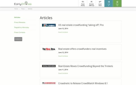 Screenshot of Press Page earlyshares.com - EarlyShares | Crowdfunding Platform | Press | Articles - captured July 18, 2014