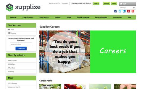 Screenshot of Jobs Page supplize.com - Supplize | Your Local Supplies Warehouse - captured Oct. 18, 2018