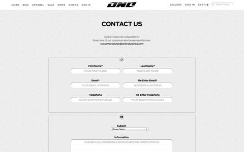 Screenshot of Contact Page oneindustries.com - Contact Us - captured Oct. 26, 2014